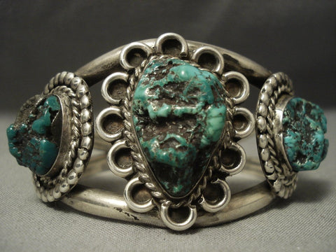 Rare Green Old Kingman Turquoise Vintage Navajo Sterling Native American Jewelry Silver Bracelet-Nativo Arts