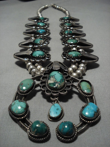 Rare Heavy Vintage Native American Navajo Turquoise Sterling Silver Squash Blossom Necklace Old