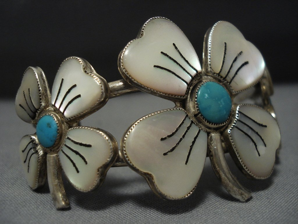 Rare Huge Vintage Native American Jewelry Navajo Flower ...