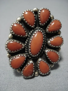 Rare!! Huge Vintage Navajo Coral Sterling Silver Ring Old-Nativo Arts