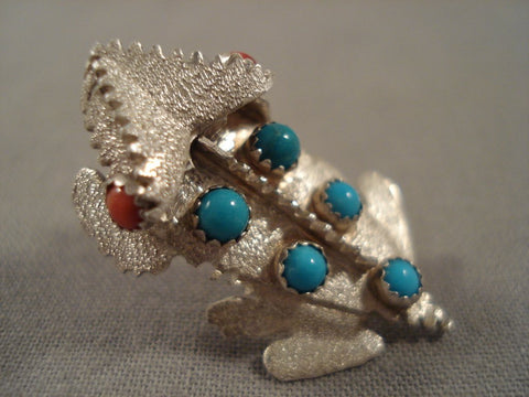 Rare Important Navajo Benny Yazzie Turquoise Coral Native American Jewelry Silver Toad Pin-Nativo Arts