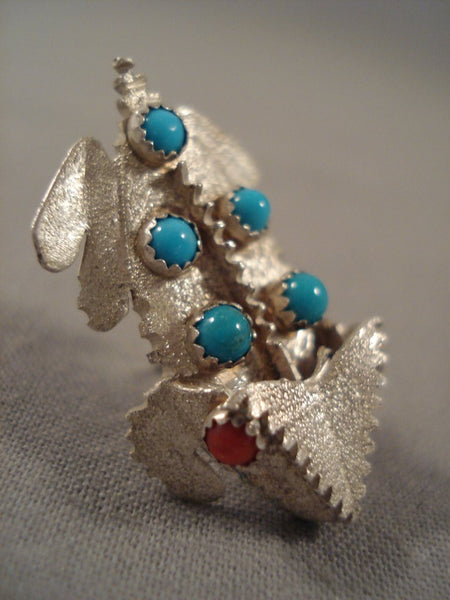 Rare Important Navajo Benny Yazzie Turquoise Coral Native American Jewelry Silver Toad Pin