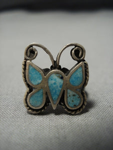 Rare Intricate Vintage Zuni Native American Jewelry Navajo Turquoise Sterling Silver Butterfly Ring-Nativo Arts