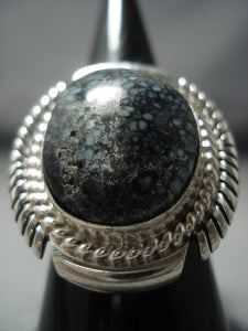 Rare Kee Family Vintage Navajo Lander Blue Turquoise Sterling Native American Jewelry Silver Ring-Nativo Arts