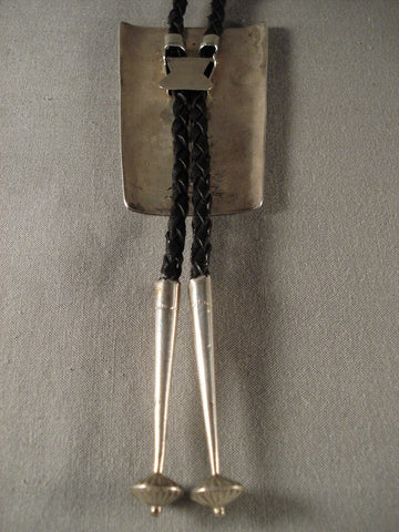Rare moonlight Dance Vintage Navajo Native American Jewelry Silver Bolo Tie-Nativo Arts