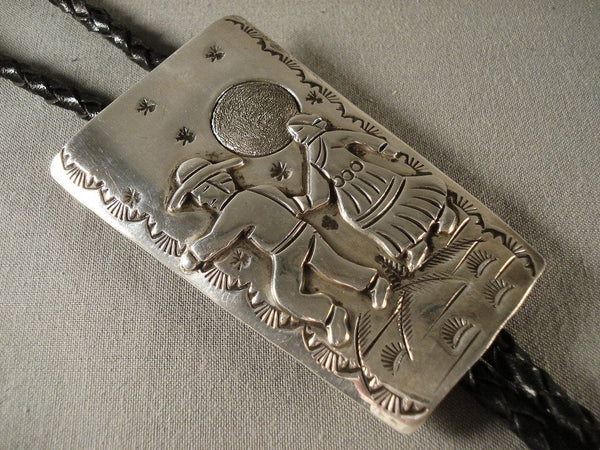 Rare moonlight Dance Vintage Navajo Native American Jewelry Silver Bolo Tie