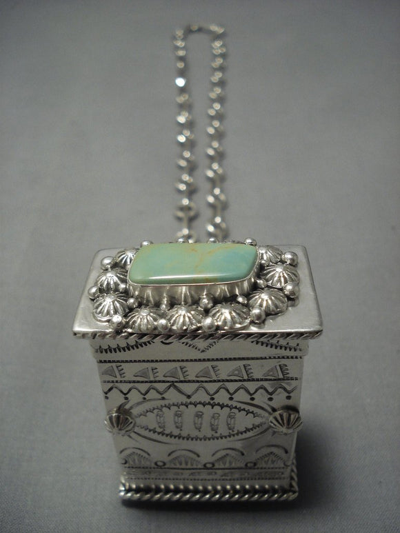 Rare Navajo Ben Begaye Turquoise Sterling Native American Jewelry Silver Pillbox Necklace-Nativo Arts