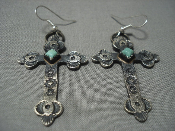 Rare Navajo Green Turquoise Sterling Native American Jewelry Silver Navajo Earrings-Nativo Arts