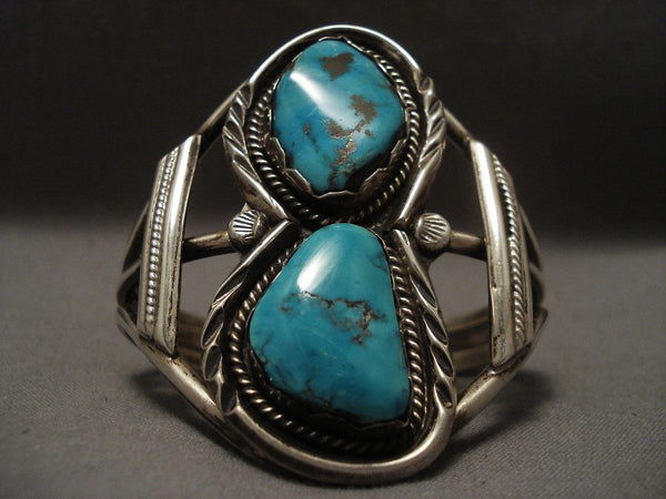 Rare Old Navajo Robin's Egg Turquoise Native American Jewelry Silver Bracelet