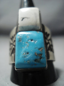 Rare Taos Vintage Turquoise Sterling Native American Jewelry Silver Ring Old Pawn-Nativo Arts