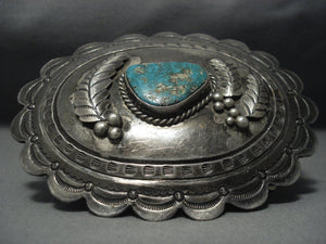 Rare Triangular Turquoise Vintage Navajo Sterling Native American Jewelry Silver Belt Buckle Old-Nativo Arts