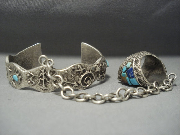 Rare Tufa Casted Sterling Native American Jewelry Silver Turquoise Inlay Navajo Slave Bracelet Set-Nativo Arts