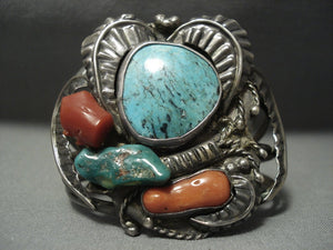 Rare Turquoise! Blue Wind Vintage Navajo Sterling Native American Jewelry Silver Bracelet Old Pawn-Nativo Arts