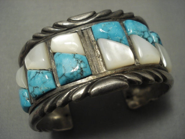 Rare Turquoise! Blue Wind Vintage Navajo Sterling Native American Jewelry Silver Bracelet