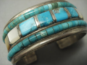 Rare! Turquoise Heishi Vintage Navajo Sterling Native American Jewelry Silver Bracelet-Nativo Arts