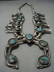 Rare Turquoise!! Vintage Native American Jewelry Navajo Sterling Silver Squash Blossom Necklace Old-Nativo Arts