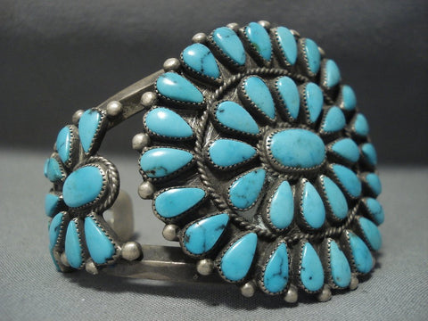 Rare Turquoise Vintage Navajo Blue Wind Sterling Native American Jewelry Silver Bracelet Old-Nativo Arts