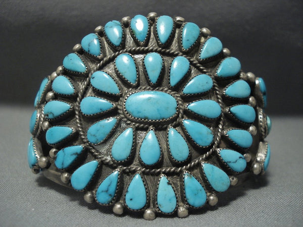Rare Turquoise Vintage Navajo Blue Wind Sterling Native American Jewelry Silver Bracelet Old