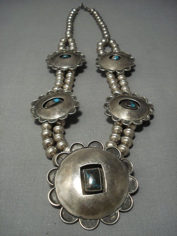Rare Vintage Bisbee Turquoise Navajo Sterling Native American Jewelry Silver Squash Blossom Necklace Old-Nativo Arts