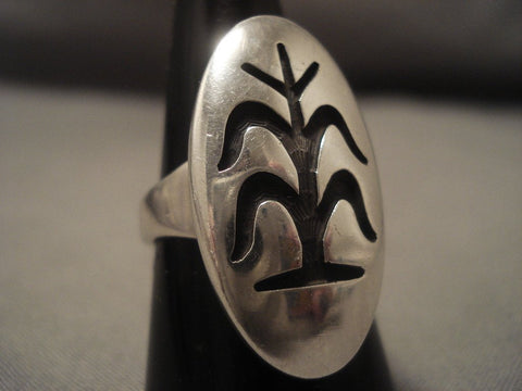 Rare Vintage Hopi Bernard Dawahoya tobacco Plant Native American Jewelry Silver Ring Old-Nativo Arts