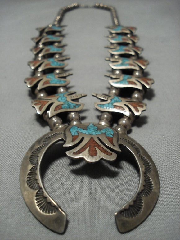 Rare Vintage Native American Jewelry Navajo Turquoise Coral Sterling Silver Squash Blossom Necklace-Nativo Arts