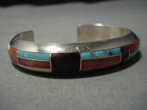 Rare Vintage Native American Jewelry Navajo Turquoise Spiny Oyster Sterling Silver Cuff Inlay Bracelet-Nativo Arts