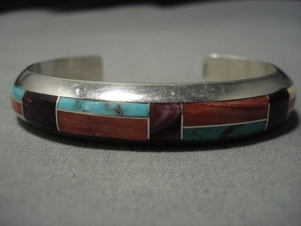 Rare Vintage Native American Jewelry Navajo Turquoise Spiny Oyster Sterling Silver Cuff Inlay Bracelet
