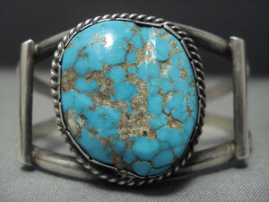 Rare! Vintage Navajo #8 Turquoise Sterling Native American Jewelry Silver Bracelet Old Pawn-Nativo Arts