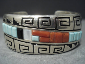 Rare Vintage Navajo Alvin Begay Turquoise Sterling Native American Jewelry Silver Bracelet Old Pawn-Nativo Arts