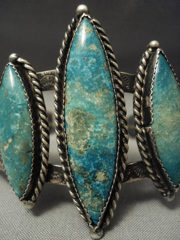 Rare! Vintage Navajo Apache Turquoise Sterling Native American Jewelry Silver Bracelet Old-Nativo Arts