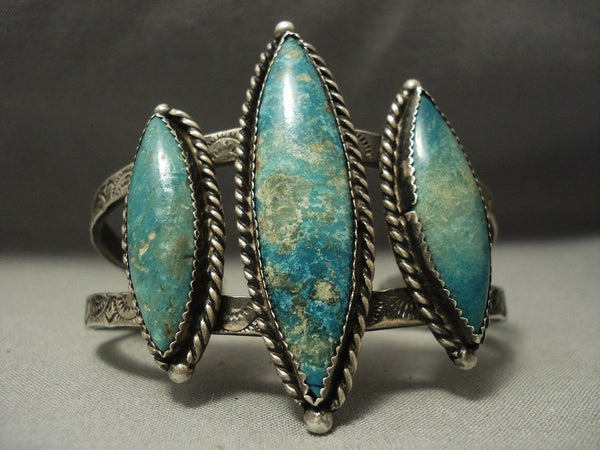 Rare! Vintage Navajo Apache Turquoise Sterling Native American Jewelry Silver Bracelet Old
