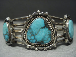 Rare! Vintage Navajo Blue Diamond Turquoise Sterling Native American Jewelry Silver Bracelet Old-Nativo Arts