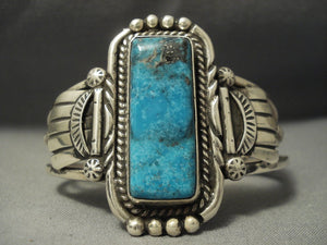 Rare Vintage Navajo Blue Diamond Turquoise Sterling Native American Jewelry Silver Bracelet-Nativo Arts