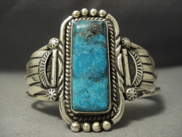 Rare Vintage Navajo Blue Diamond Turquoise Sterling Native American Jewelry Silver Bracelet