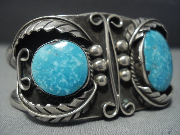 Rare Vintage Navajo Carico Lake Turquoise Sterling Native American Jewelry Silver Bracelet Cuff-Nativo Arts