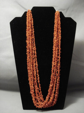 Rare Vintage Navajo Coral Sterling Native American Jewelry Silver Bead Necklace-Nativo Arts