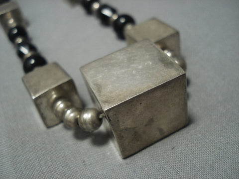 Rare Vintage Navajo Cubed Sterling Native American Jewelry Silver Jet Necklace Old Pawn-Nativo Arts