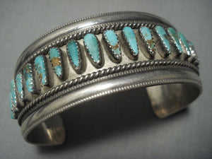 Rare!! Vintage Navajo Green Turquoise Sterling Native American Jewelry Silver Bracelet Old-Nativo Arts