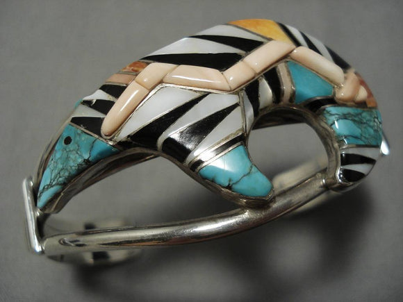 Rare!! Vintage Navajo Inlay Turquoise Sterling Silver Native American Bracelet-Nativo Arts