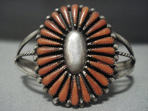Rare Vintage Navajo 'Long Teardrop Coral' Sterling Native American Jewelry Silver Bracelet-Nativo Arts