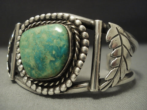 Rare Vintage Navajo Mirrored Leaf Sterling Native American Jewelry Silver Green Turquoise Bracelet-Nativo Arts