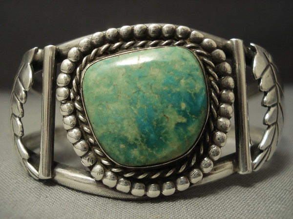 Rare Vintage Navajo Mirrored Leaf Sterling Native American Jewelry Silver Green Turquoise Bracelet