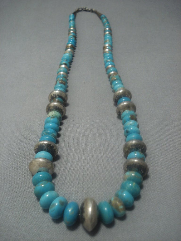 Rare!! Vintage Navajo Native American Jewelry jewelry #8 Turquoise Sterling Silver Necklace Old-Nativo Arts