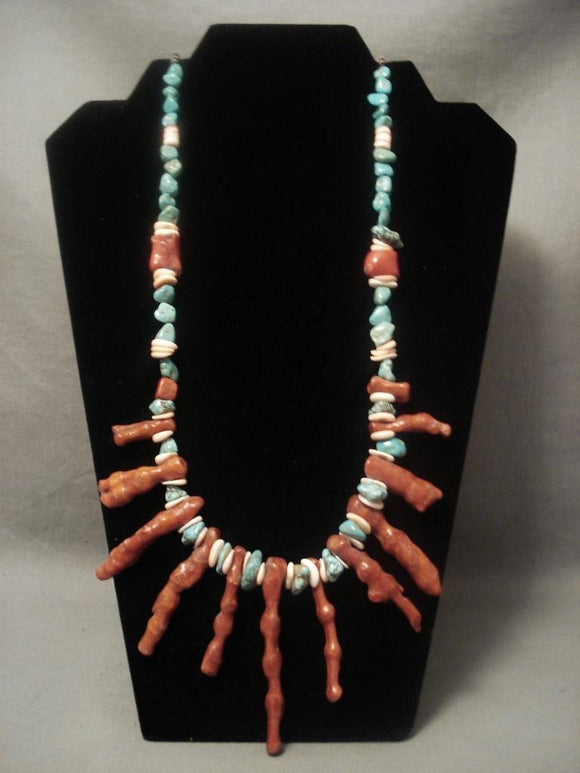 Rare Vintage Navajo Native American Jewelry jewelry graduating Coral Necklace Old-Nativo Arts