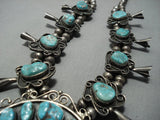 Rare Vintage Navajo Native American Jewelry jewelry Green Turquoise Sterling Silver Squash Blossom Necklace-Nativo Arts