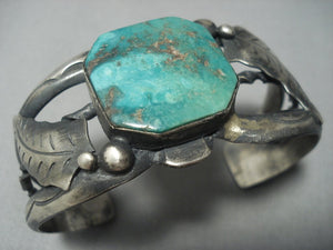 Rare Vintage Navajo Native American Jewelry jewelry Sterling Silver Sea Green Turquoise Sterling Silver Bracelet-Nativo Arts
