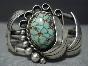 Rare Vintage Navajo Native American Jewelry Turquoise Sterling Silver Bracelet-Nativo Arts