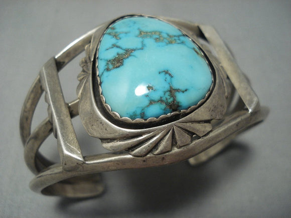 Rare Vintage Navajo Natural Carico Lake Turquoise Sterling Native American Jewelry Silver Bracelet-Nativo Arts