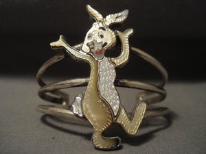 Rare Vintage Navajo Rabbit Native American Jewelry Silver Bracelet-Nativo Arts