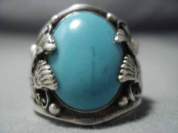Rare Vintage Navajo Turquoise Sterling Native American Jewelry Silver Eagle Ring Old-Nativo Arts